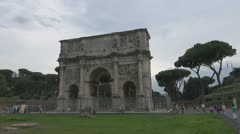 Italy Rome ,Arch of Constantine.Timelapse. Stock Footage