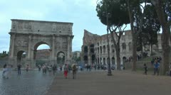 Coliseum and Arch of Constantine.Timelapse Stock Footage