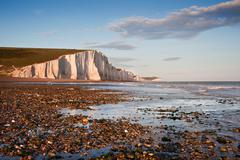 seven sisters cliffs south downs england landscape - stock photo