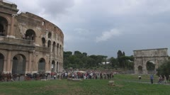 Coliseum and Arch of Constantine Stock Footage