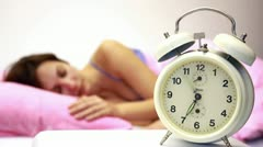 Women and Alarm Clock - stock footage