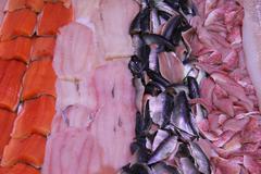 fish filets at a fish market - stock photo