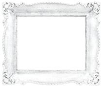 White Baroque Frame isolated on White Background. Clipping Path included. - stock photo