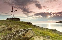 early moring on mount athos in spring time. - stock photo