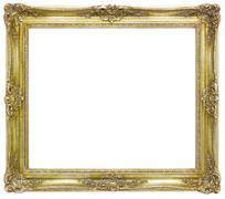 Golden Baroque Frame isolated on White Background. Stock Photos