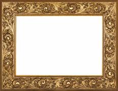 Golden frame isolated on white background Stock Photos