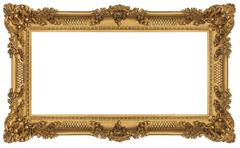 Golden frame isolated on white background. clipping paths included. Stock Photos