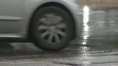 Italy Rome.Rain.Traffic urban. - stock footage