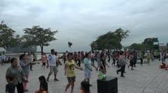 cambodia phnom penh group aerobic - stock footage