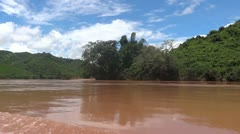 Laos nong khiaw luang prabang mekong cruise 3 Stock Footage