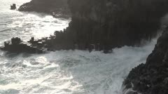 South korea jeju seogwipo rocks and waves Stock Footage