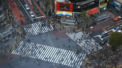 Shibuya Crossing Traffic Tokyo People Walking Crowd Commute Time Lapse Crosswalk Stock Footage