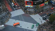 Colorful Trucks Passing Crowded Intersection Traffic Jam Cars Tokyo Crossing Day Stock Footage