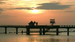 Sunrise at the Old Pier in Sellin on Rügen Island - Baltic Sea, Germany Stock Footage