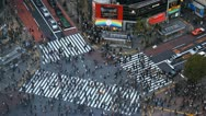 Stock Video Footage of Aerial View Rush Hour Crowded Street Tokyo People Crossing Crowd Walk Commuters