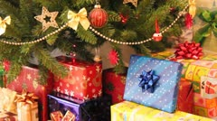 Gifts and christmas tree Stock Footage
