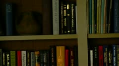 Colorful Books on Bookshelf Stock Footage