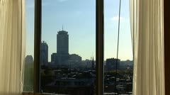 Boston Skyline From Hotel Window Stock Footage