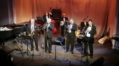 "Jazz band ""Leningrad Dixieland"" in Saint-Petersburg Stock Footage"