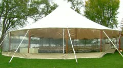 Exterior of White Wedding Tent on Lake Stock Footage