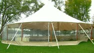 Exterior of White Wedding Tent on Lake Stock Footage