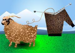 Stock Illustration of fur goat and knitting