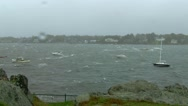 Wide Shot of Harbor During Storm Stock Footage
