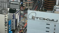 Crowds in Hachiko, Aerial View of Shibuya Crossing, Tokyo, Japan, Day Traffic - stock footage