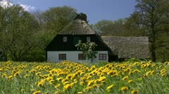 Old House with Yellow Flowers - Baltic Sea, Northern Germany Stock Footage