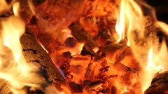 hot fire and coals - stock footage
