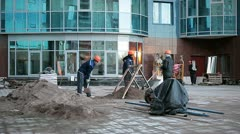 Construction site of the modern house with workers Stock Footage