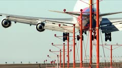 Big Jumbo Jet Lands Time lapse Stock Footage
