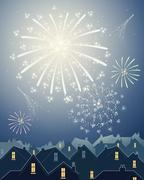 Stock Illustration of fireworks in the city