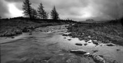 Brecon Beacon BW panoramic - stock photo