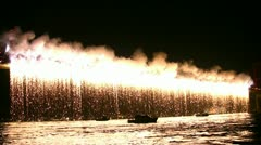 Fireworks pouring at the bridge Stock Footage