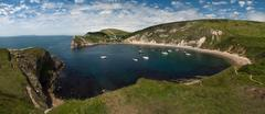 Lulworth cove panoramic Stock Photos