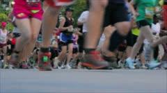 Stock Video Footage of Marathon Running Past Camera