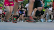 Stock Video Footage of Marathon Running Past Camera
