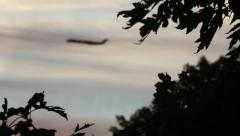 Large Commercial Plane at Sunset Stock Footage