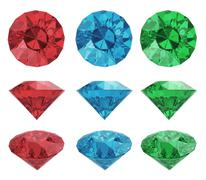 color gems set with clipping path - stock illustration