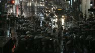 Rainfall Precipitation Tokyo Crowd Pedestrians People Walk Crowded Street Night Stock Footage