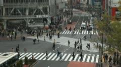 Cloudy Day Tokio Fashion Urban Shot Crowded Shopping Street Shibuya Tokyo People Stock Footage