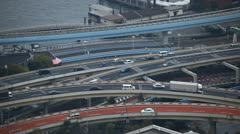Aerial View of Tokyo Highway, Japan, Modern Freeway, Commute, Metropolitan Area Stock Footage