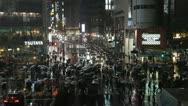 Night Rainfall Precipitation Rain Rush Hour People Walk Tokyo Busy Street Crowd Stock Footage