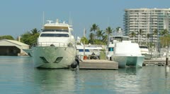 AZIMUT italian luxury yacht in marina luxury boat ship 2 Stock Footage
