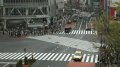 Intersection Aerial View Shot Hachiko Japan Shibuya Crossing Tokyo People Crowd - stock footage