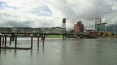 Portland Oregon with Hawthorne Bridge along Willamette River in Fall Timelapse Stock Footage