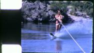 Stock Video Footage of Healthy Man Skis Waterski 1960s Athletic Vintage Retro Old Film Home Movie 5354