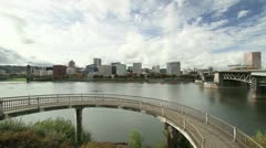 Portland Oregon Downtown Skyline with Bridges Moving Clouds Timelapse Stock Footage