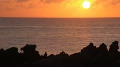 Rocky Bermuda coast at sunet Stock Footage
